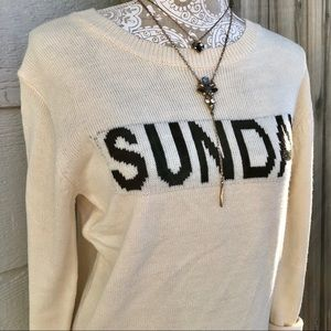 Sweaters - Sunday Message Graphic Sweater in Cream Ivory